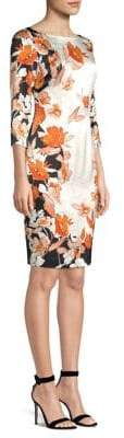 St. John Floral Stretch-Silk Sheath Dress