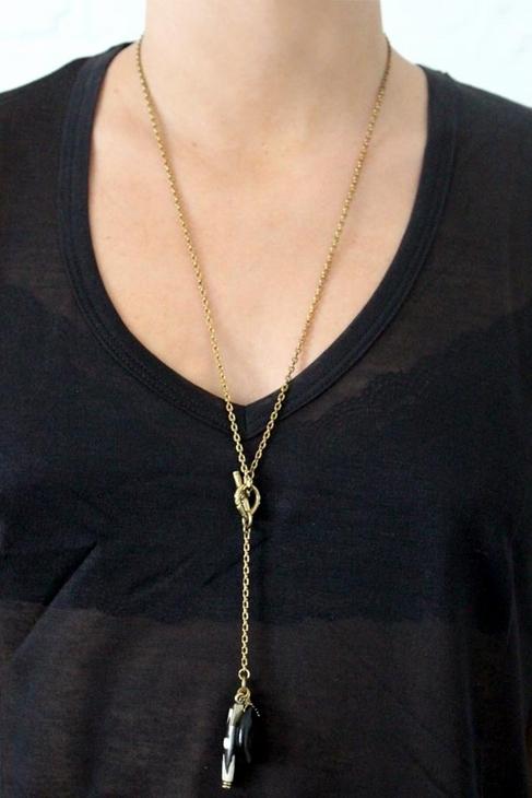 Vanessa Mooney Low Down Necklace in Brass