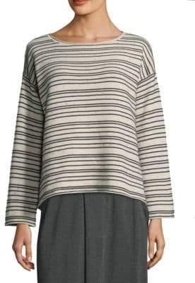 Eileen Fisher Striped Cotton-Blend Sweater