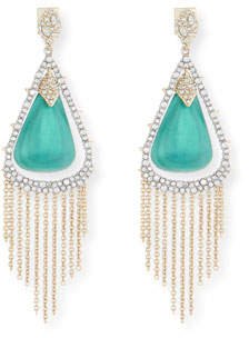 Alexis Bittar Crystal Encrusted Tassel Chain Earrings, Green