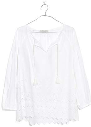 Madewell Embroidered Eyelet Peasant Top