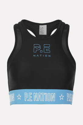 P.E Nation Figure Four Mesh-trimmed Stretch Sports Bra - Black
