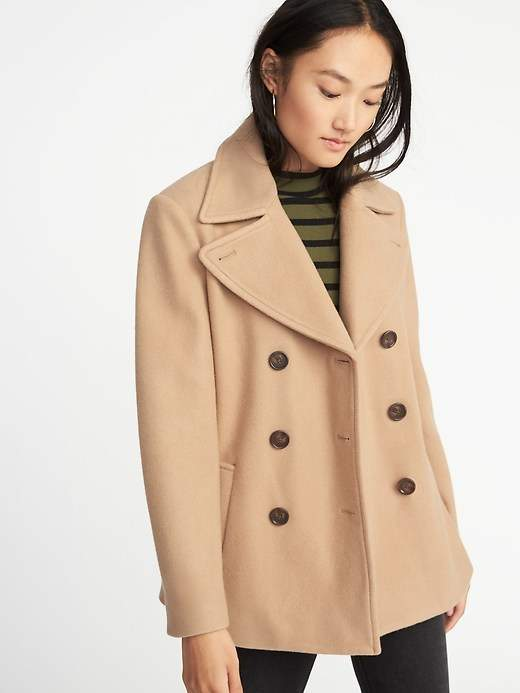 Brushed Flannel Peacoat for Women