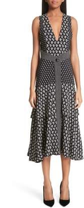 Proenza Schouler Mixed Print Button Detail Midi Dress