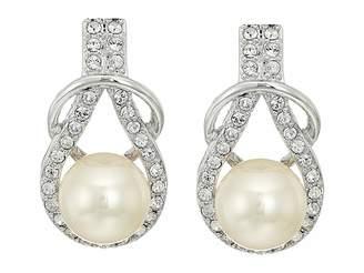 Nina Alton Herculean Knot Pearl/Pave Earrings