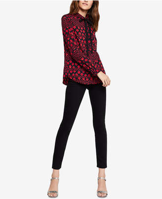 BCBGeneration Printed Bow-Tie Blouse