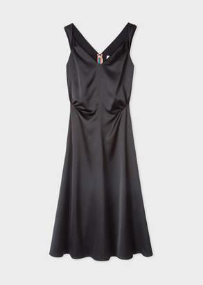 Paul Smith Women's Black Satin Sleeveless Midi Dress