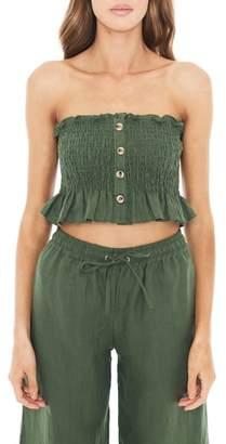 Faithfull The Brand Sloane Smocked Linen Crop Top