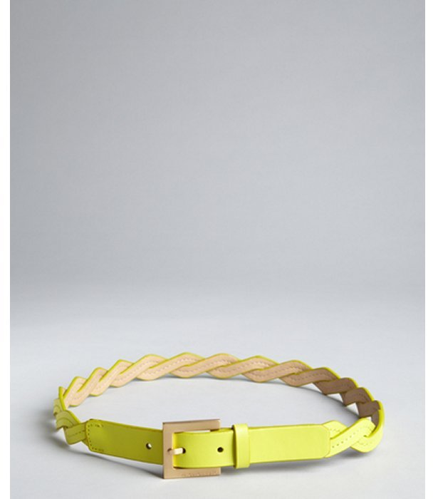 Vince Camuto lemon yellow zig zag woven leather belt