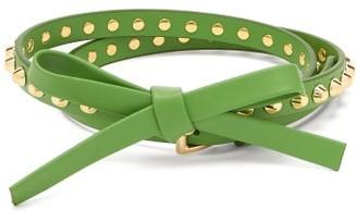Prada Studded Leather Belt - Womens - Green