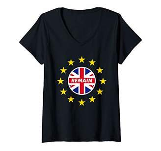 Womens Remain in Europe anti brexit Let Britain Stay in EU V-Neck T-Shirt
