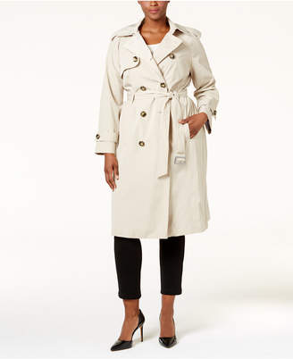 London Fog Plus Size Hooded Double Breasted Long Trench Coat