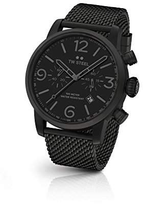 TW Steel 'Maverick' Quartz Stainless Steel Dress Watch, Color:Black (Model: MB33)