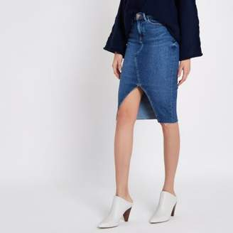 River Island Womens Mid blue split front denim pencil skirt