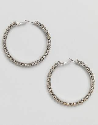 Aldo Silver Embellished Hoop Earrings