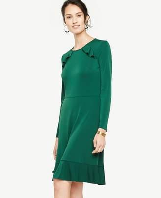 Ann Taylor Petite Knit Ruffle Flare Dress