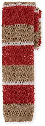Canali Horizontal Striped Knit Tie, Khaki