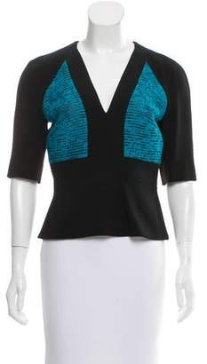Roland Mouret Textured V-Neck Top w/ Tags