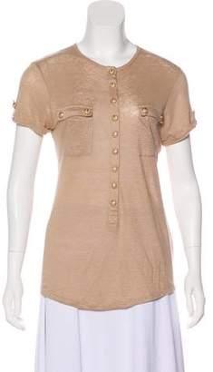 Balmain Short Sleeve Linen Top