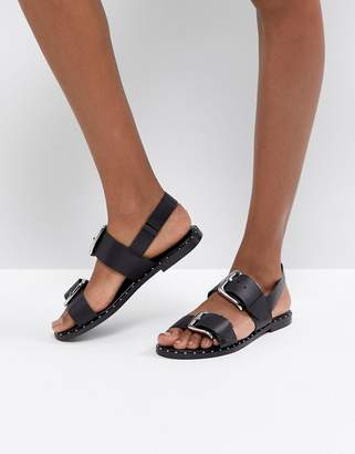 Asos FOR ONCE Leather Studded Flat Sandals