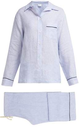 Pour Les Femmes - Piped Linen Pyjama Set - Womens - Blue Stripe