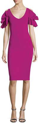 Chiara Boni Taja V-Neck Ruffle Short-Sleeve Cocktail Dress