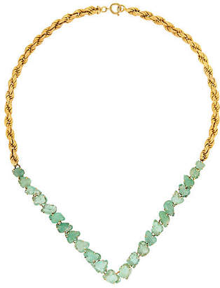 One Kings Lane Vintage 14K Gold & Carved Emerald Necklace - Precious & Rare Pieces