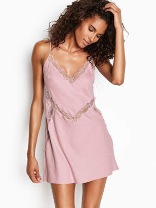 Victoria's Secret Dream Angels Satin Jacquard Lace-trim Slip