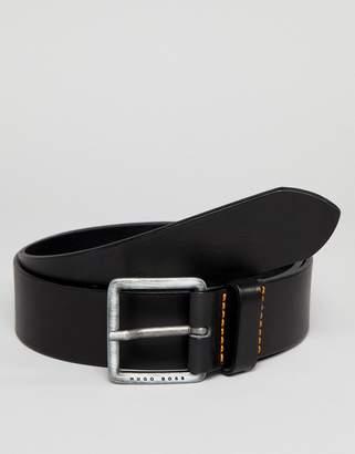 BOSS Jeeko Logo Buckle Leather Belt in Black