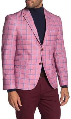 Levinas Blue Windowpane Two Button Notch Lapel Slim Fit Jacket
