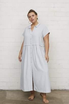 White Label Linen Andi Dress - Bluebell, Plus Size