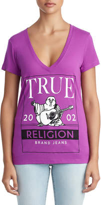 True Religion WOMENS CRYSTAL EMBELLISHED BUDDHA FRAME LOGO TEE