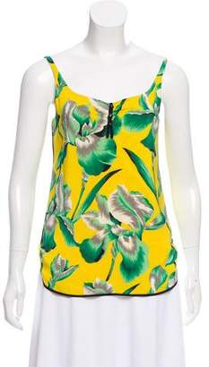 Marc Jacobs Sleeveless Floral Print Silk Top