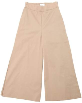 Stretch Cotton Poplin Wide Leg Pants
