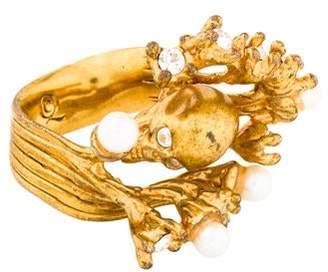 Alexander McQueen Faux Pearl & Crystal Skull Ring