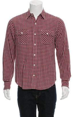 Vince Contrast Gingham Button-Up Shirt