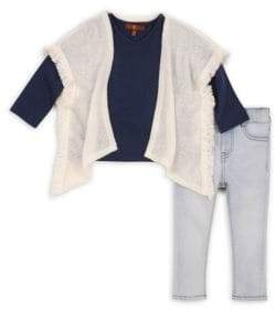 7 For All Mankind Little Girl's Poncho Long-Sleeve Tee & Skinny Jean Three-Piece Set