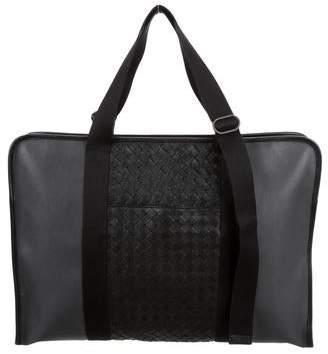 6ffe6f4f63d3 Bottega Veneta Leather Intrecciato-Trimmed Briefcase