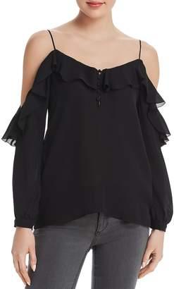 Paige Arabeth Cold-Shoulder Silk Top