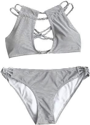Seaselfie Women's Crochet Cross Padding Bikini Sexy Front Cut Out Design Swimsuit Swimwear Printing, Small