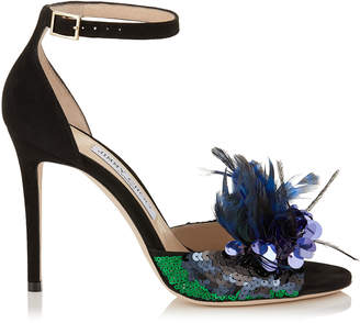 Jimmy Choo ANNIE 100 Black Suede and Blue Mix Feather Embroidery Peep Toe Sandals