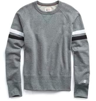 Todd Snyder + Champion Striped Raglan Sweatshirt In Salt And Pepper