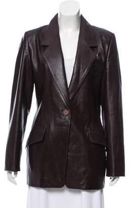 Ellen Tracy Leather Notch-Lapel Jacket