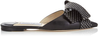 Jimmy Choo GRETCHEN FLAT Black Kid Leather Flats with Silver Studded Bow