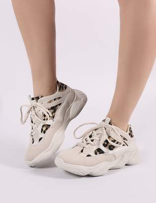 9a776793938 Public Desire Kaidee Chunky Trainers in Sand and Print