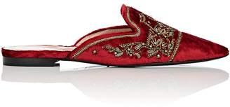 Alberta Ferretti Women's Embellished Velvet Mules