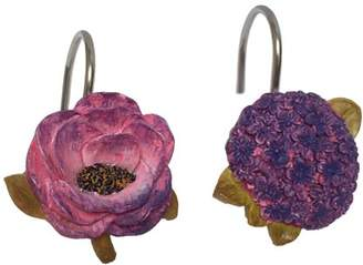 Laural Home Blue and Purple Florals Shower Curtain Hooks