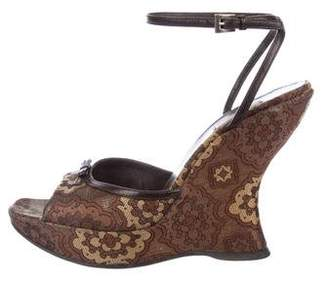 Prada Brocade Platform Wedges