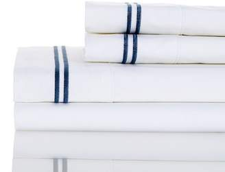 Melange Home 600 Thread Count Cotton 2 Stripe Embroidered Sheet Set - Navy