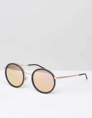 Emporio Armani round sunglasses with mirror lens